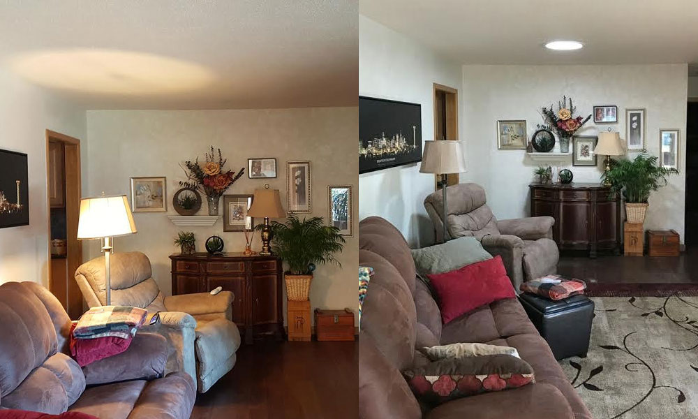 Before and after of a Sun Tunnel installation in a livingroom