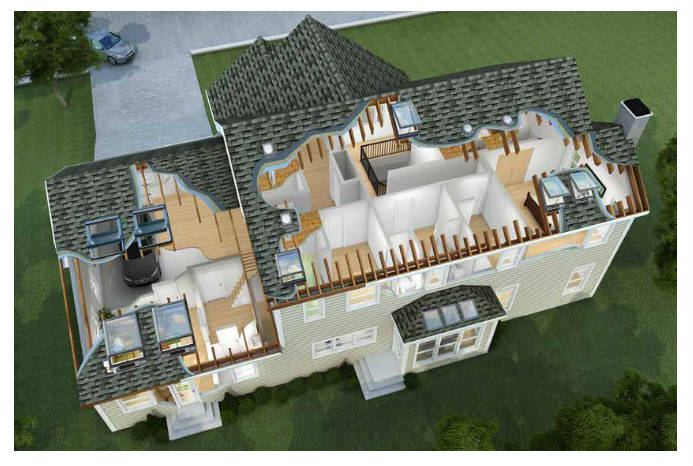 Top view of house with skylights, sun tunnels and cut away view into house.