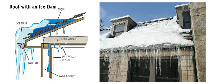 Ice dam roof diagram and image