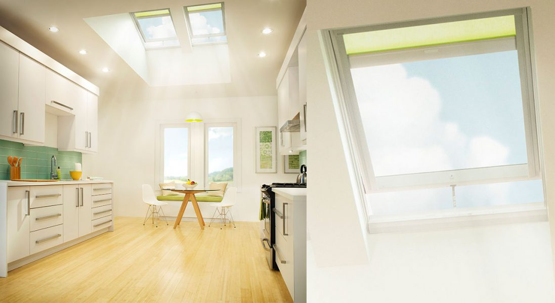 Skylights letting in light in a kitchen