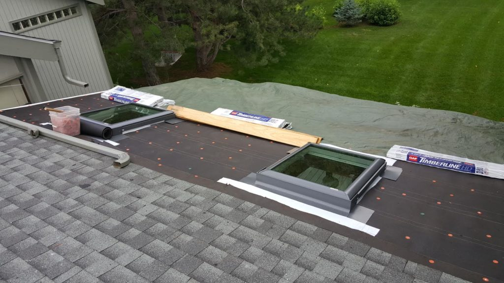 Full replace multiple skylights. Middle stage.