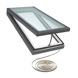 Open skylight with electric wiring