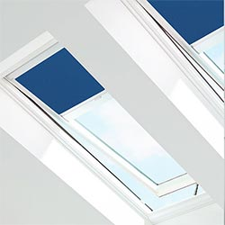Skylights with blue blinds