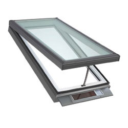 Open skylight with solar panel