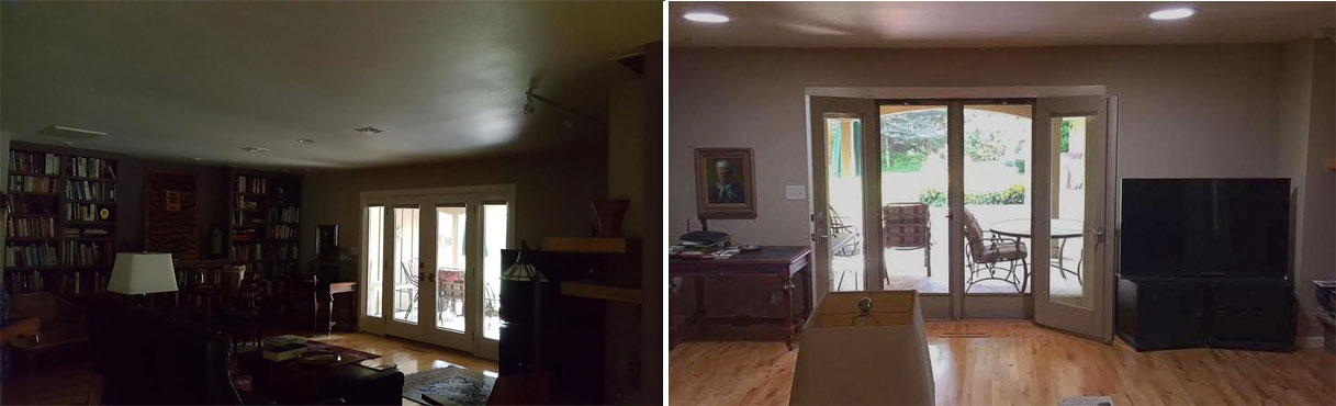 Before and after picture of two Suntunnels installed in living room