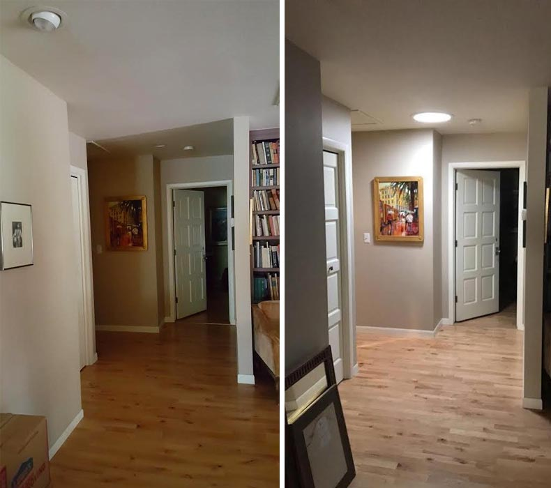 Before and after of Suntunnel installed in hallway