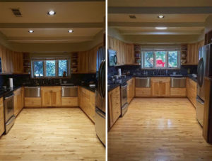 Before and after of Suntunnel in a kitchen